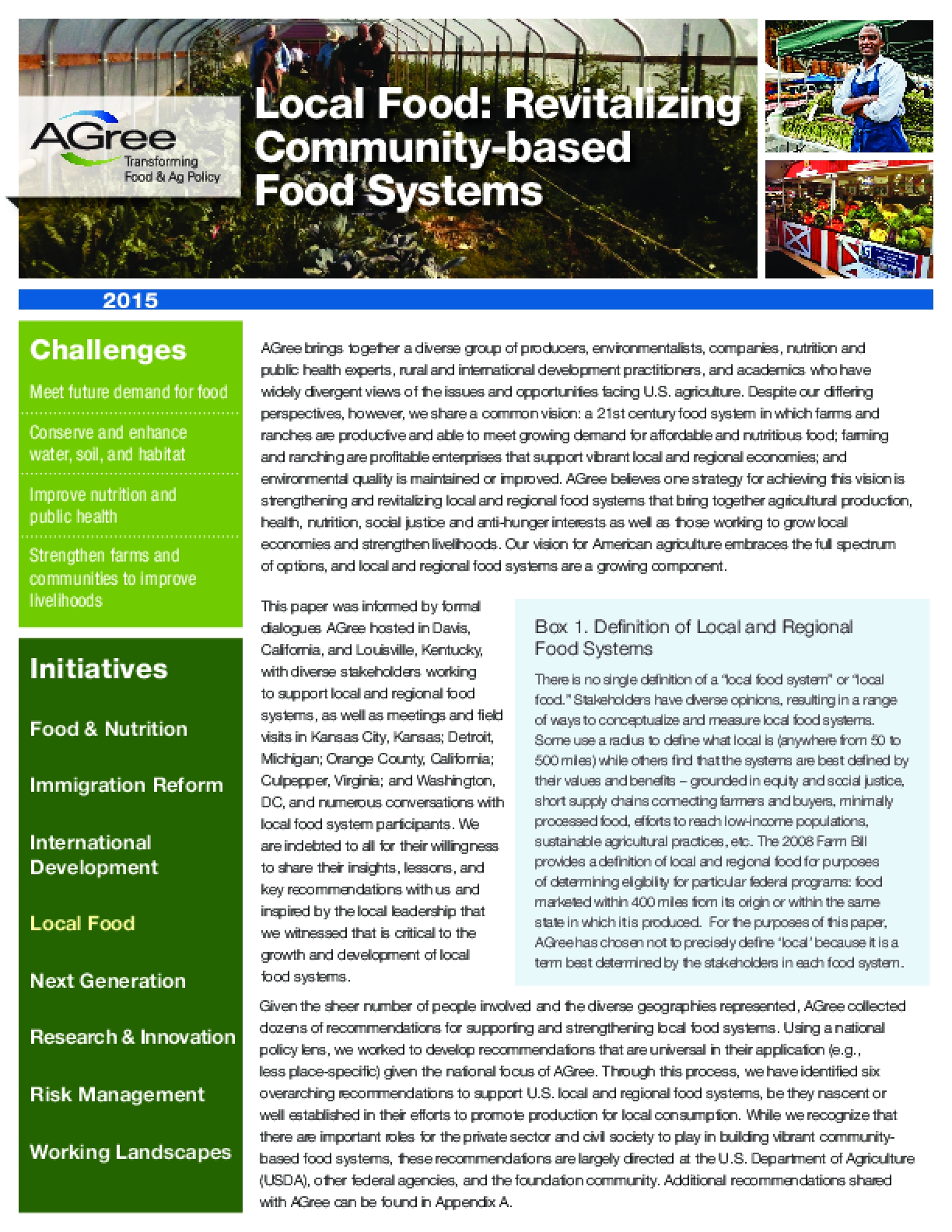 Local Food: Revitalizing Community-based Food Systems
