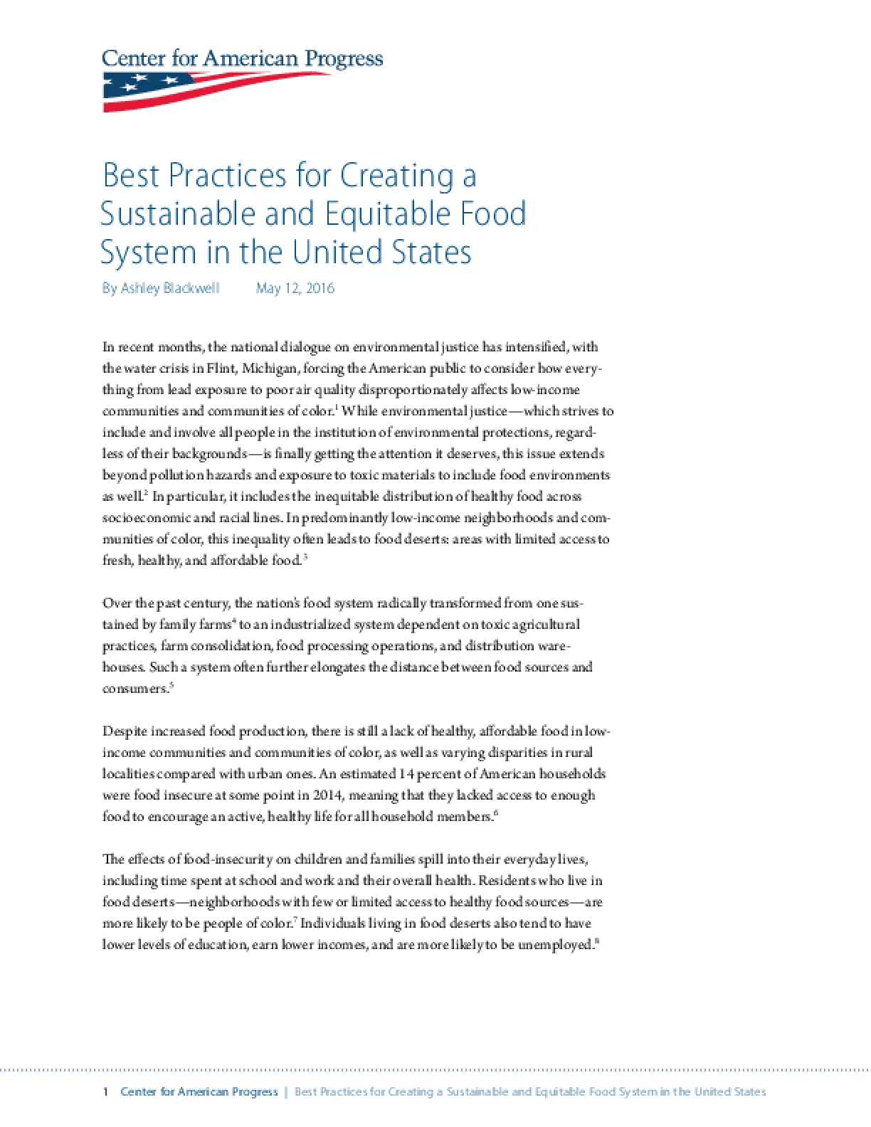 Best Practices for Creating a Sustainable and Equitable Food System in the United States