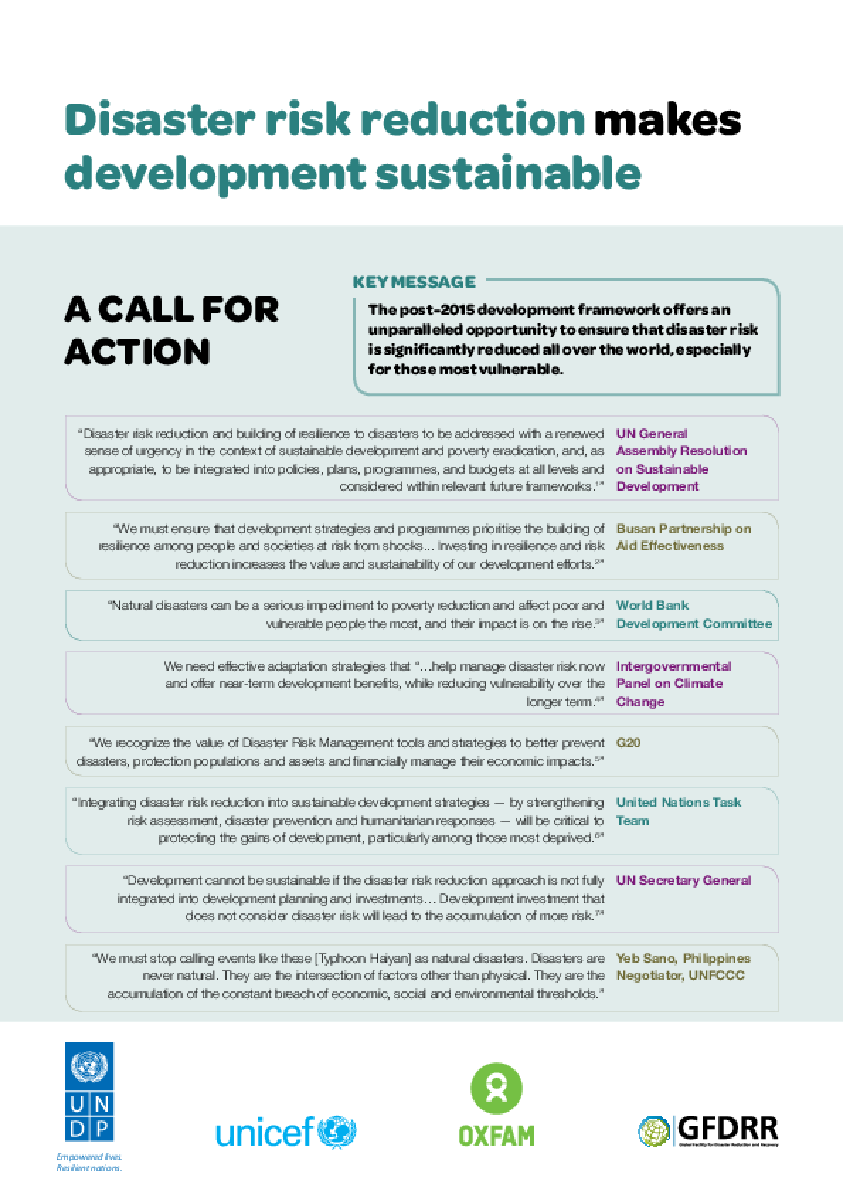 Disaster Risk Reduction Makes Development Sustainable