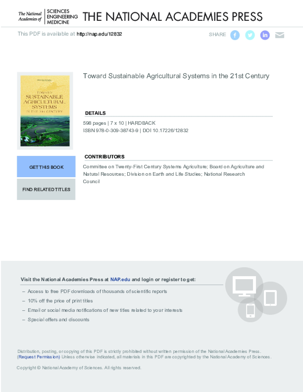 Towards Sustainable Agriculture Systems in the 21st Century