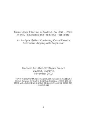 """Tuberculosis Infection in Oakland, CA 1997 - 2001: At-Risk Populations and Predicting """"Hot Spots"""""""
