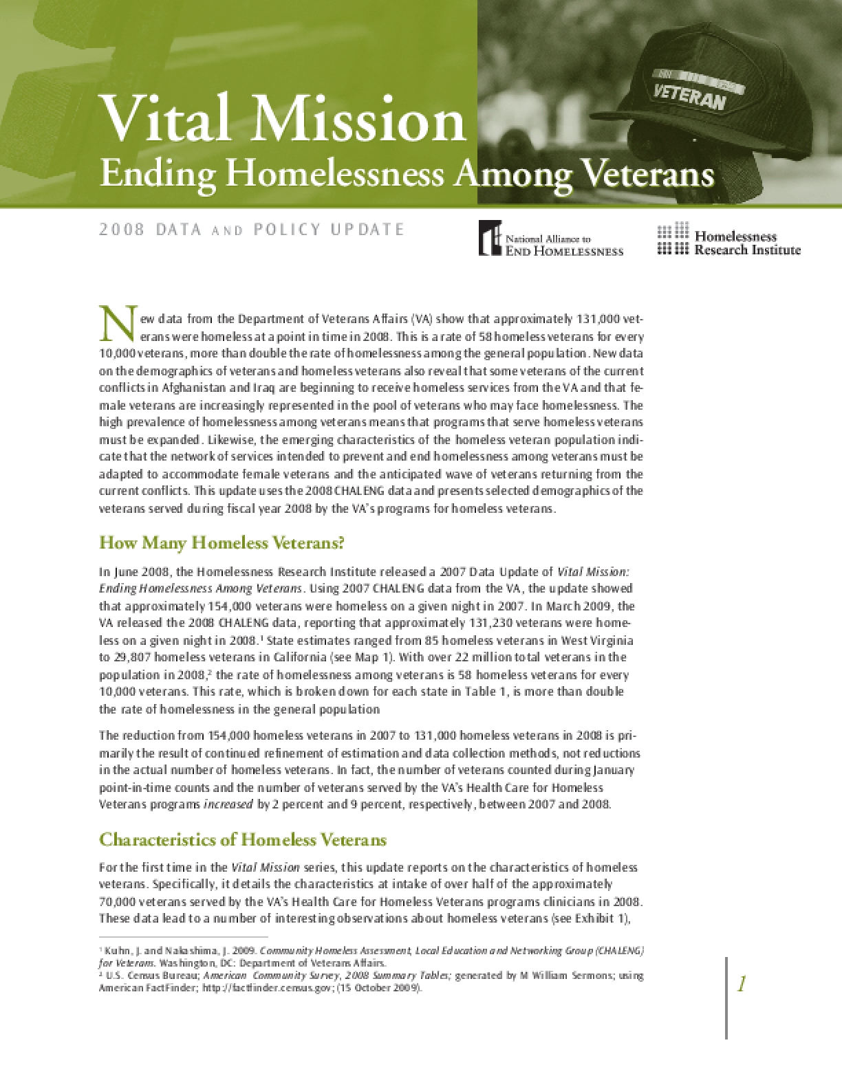 Vital Mission: Ending Homelessness Among Veterans Data and Policy Update
