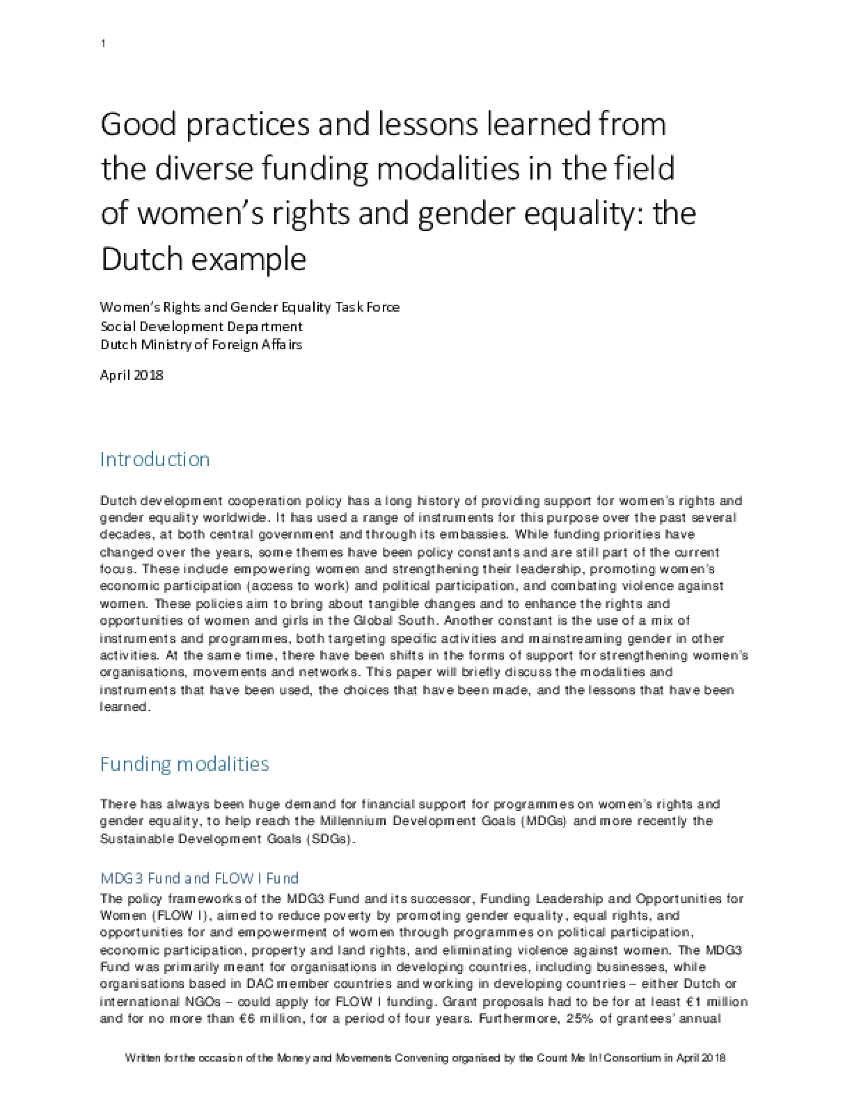 Good practices and lessons learned from the diverse funding modalities in the field of women's rights and gender equality: the Dutch example