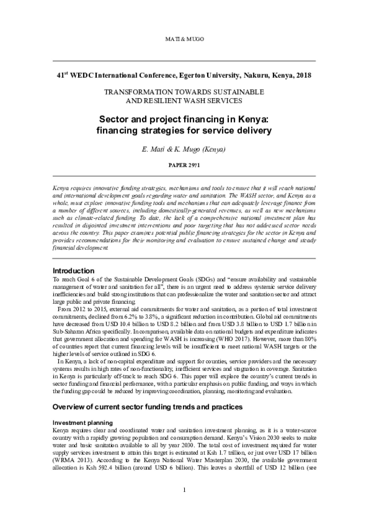 Sector and Project Financing in Kenya: Financing Strategies for Service Delivery