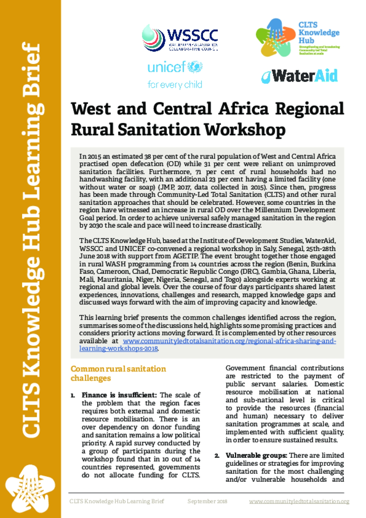 West and Central Africa Regional Rural Sanitation Workshop