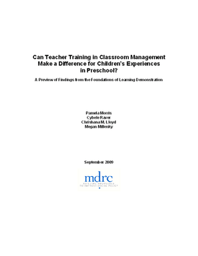 Can Teacher Training in Classroom Management Make a Difference for Children's Experiences in Preschool? A Preview of Findings from the Foundations of Learning Demonstration