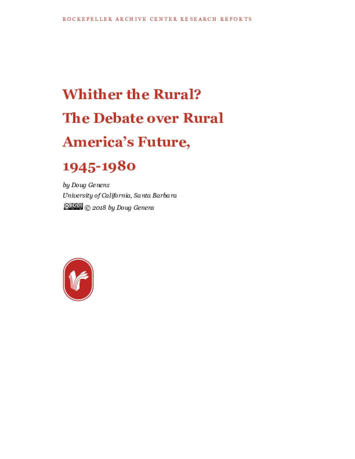 Whither the Rural? The Debate over Rural America's Future, 1945-1980