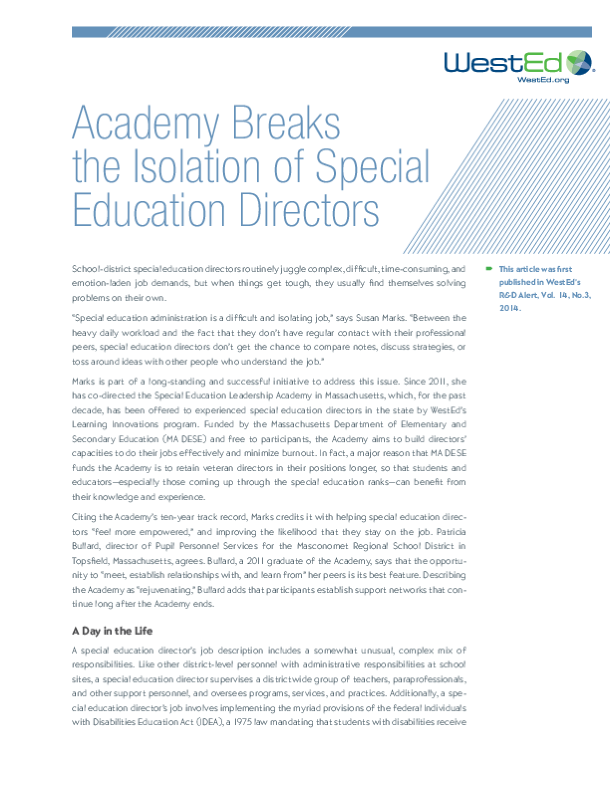 Academy Breaks the Isolation of Special Education Directors