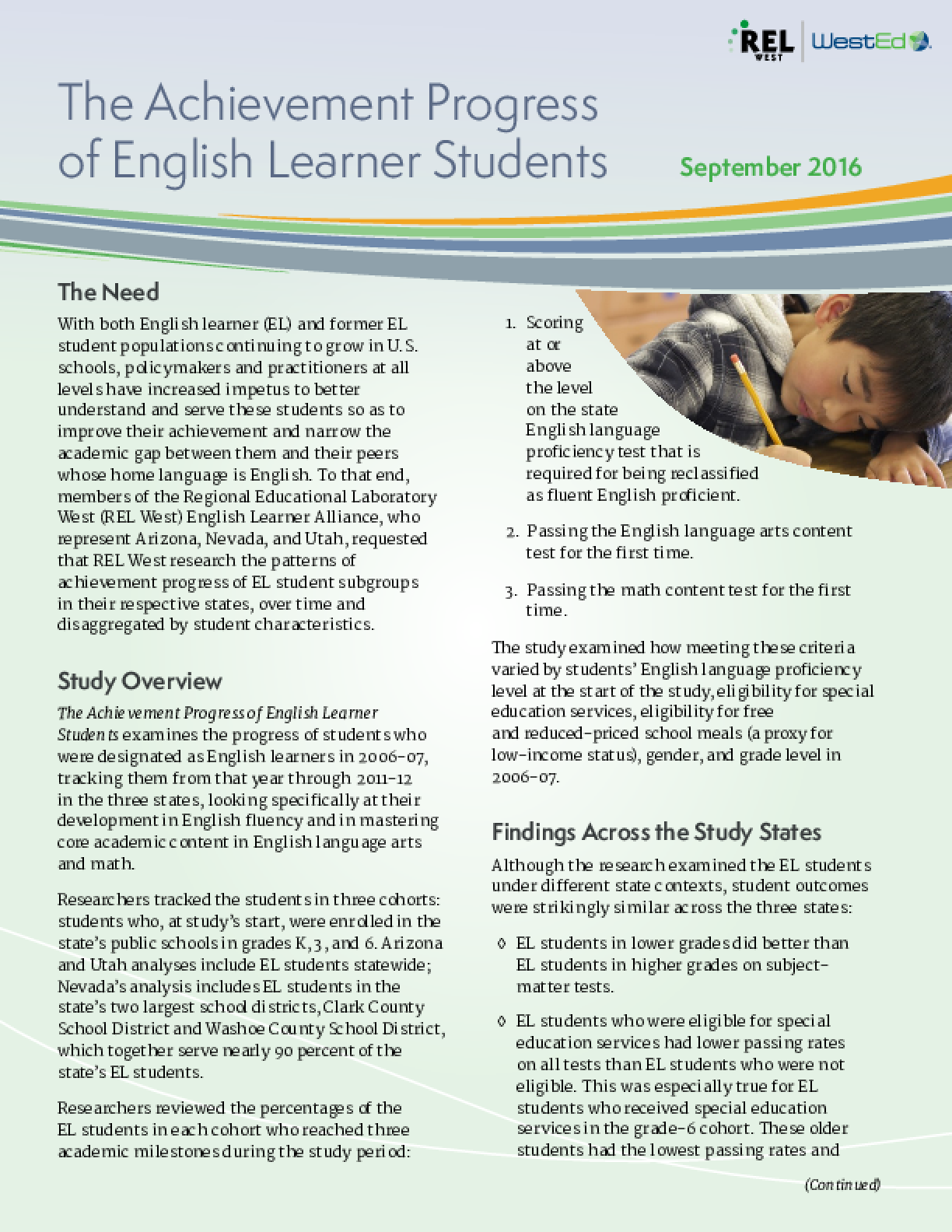 The Achievement Progress of English Learner Students