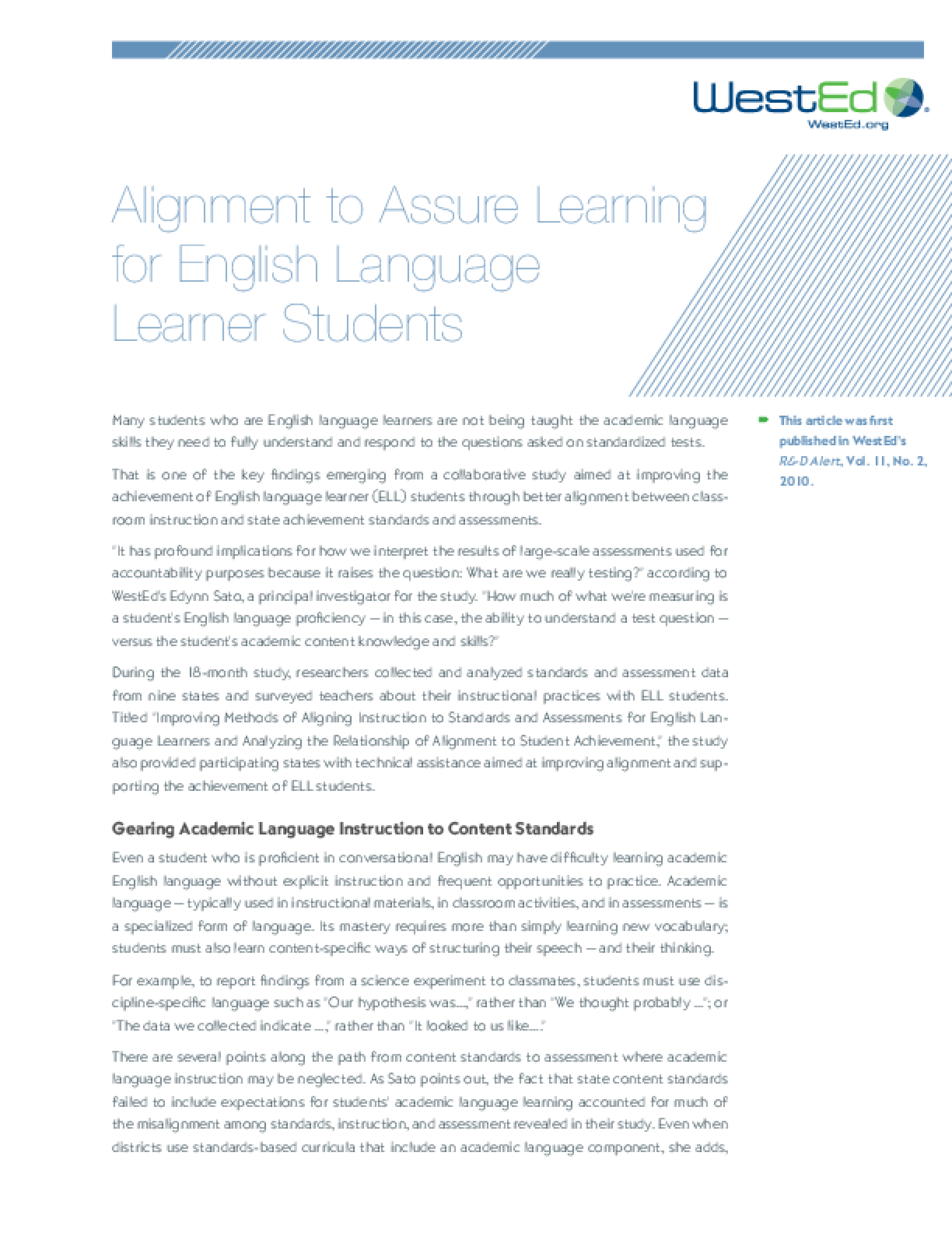 Alignment to Assure Learning for ELL Students