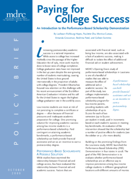 Paying for College Success: An Introduction to the Performance-Based Scholarship Demonstration