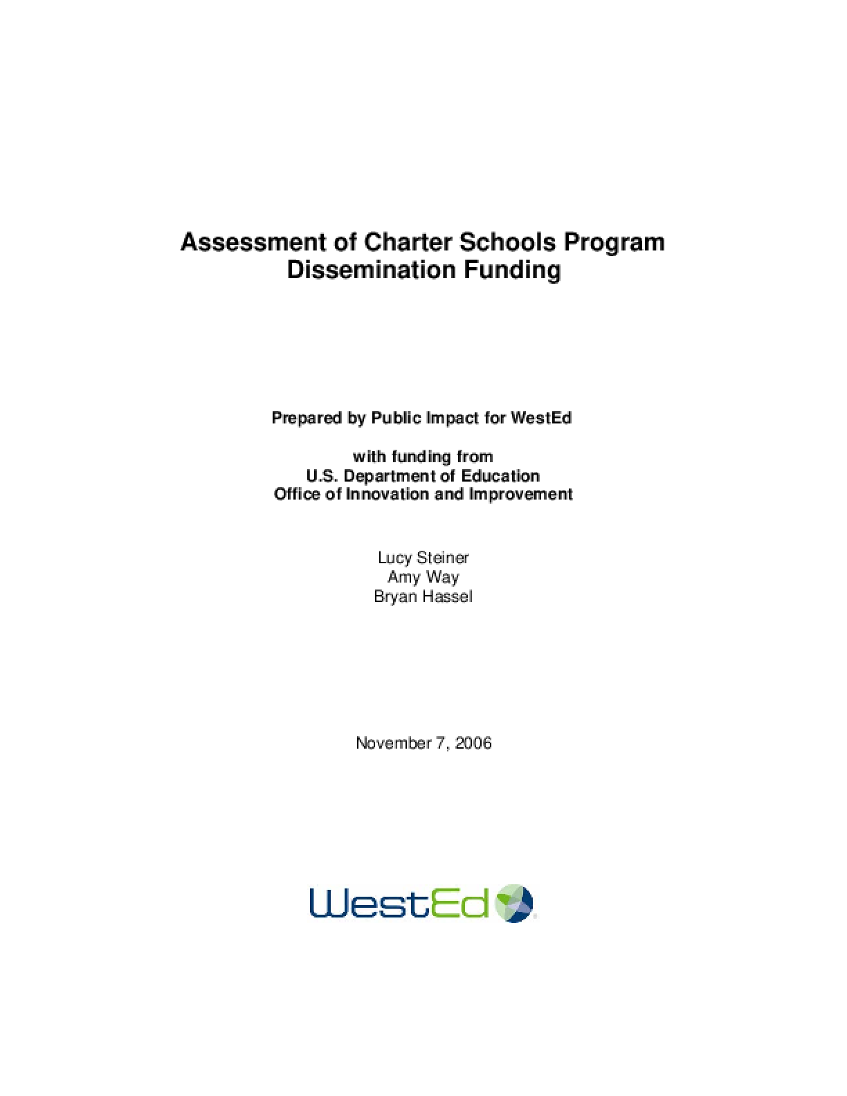 Assessment of Charter Schools Program Dissemination Funding