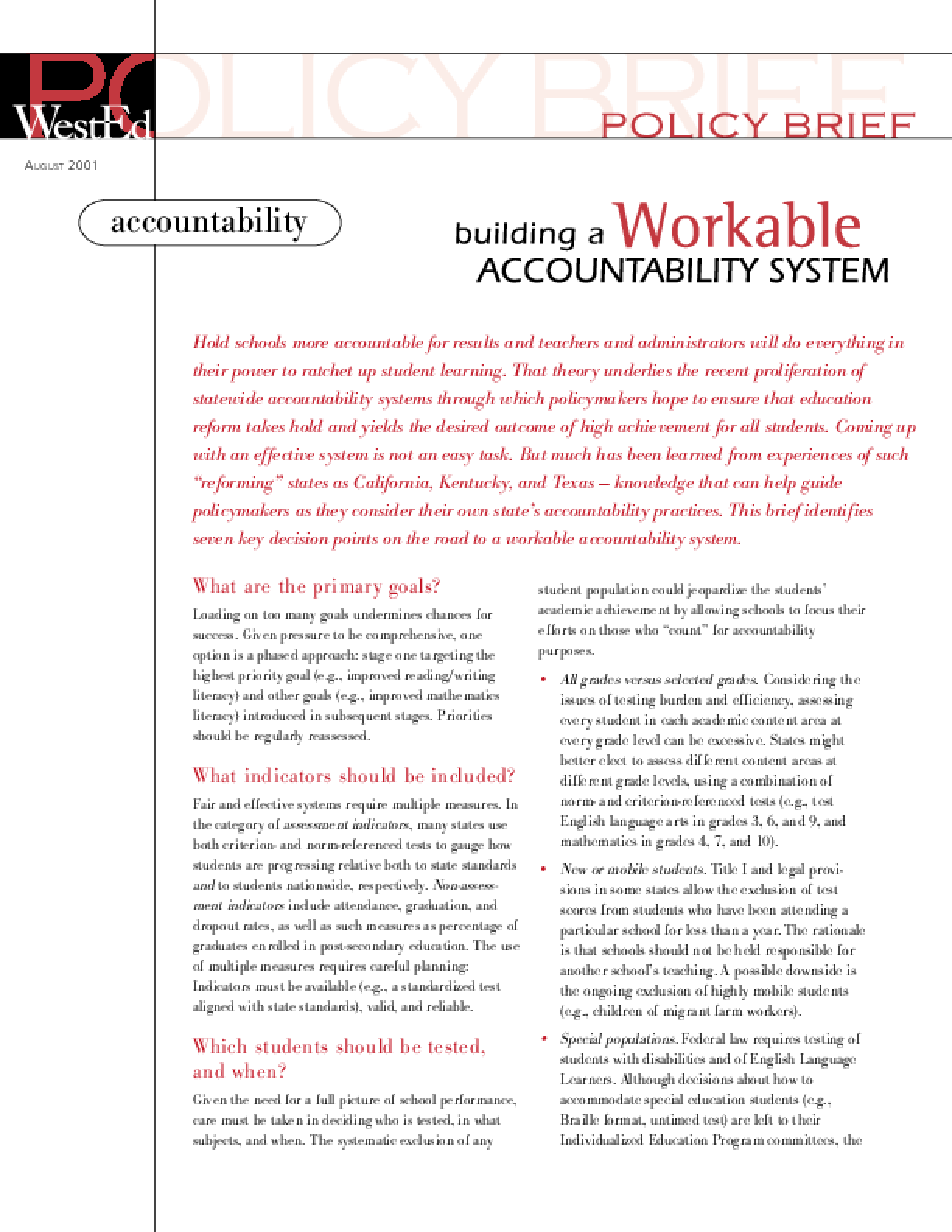Building a Workable Accountability System: Policy Brief