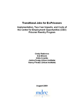 Transitional Jobs for Ex-Prisoners: Implementation, Two-Year Impacts, and Costs of the Center for Employment Opportunities (CEO) Prisoner Reentry Program