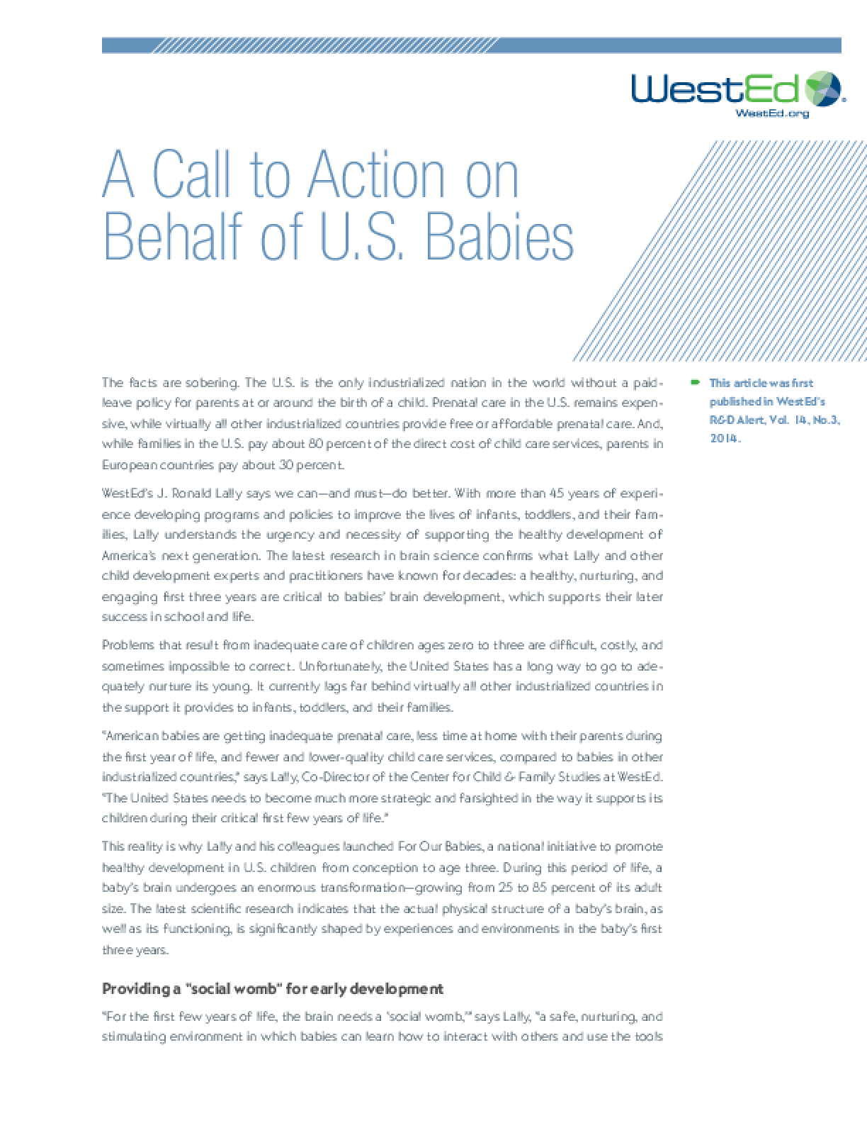 A Call to Action on Behalf of U.S. Babies