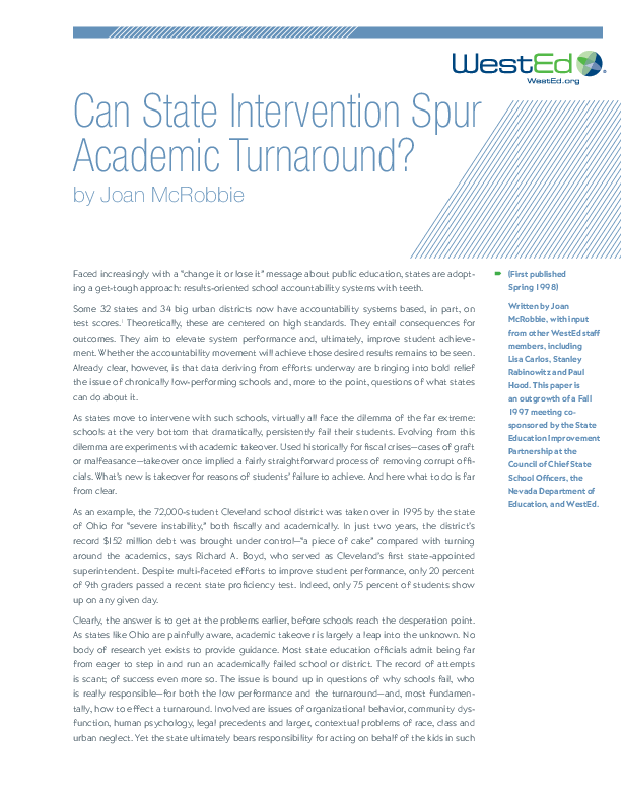 Can State Intervention Spur Academic Turnaround?