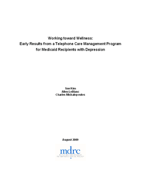 Working toward Wellness: Early Results from a Telephone Care Management Program for Medicaid Recipients with Depression