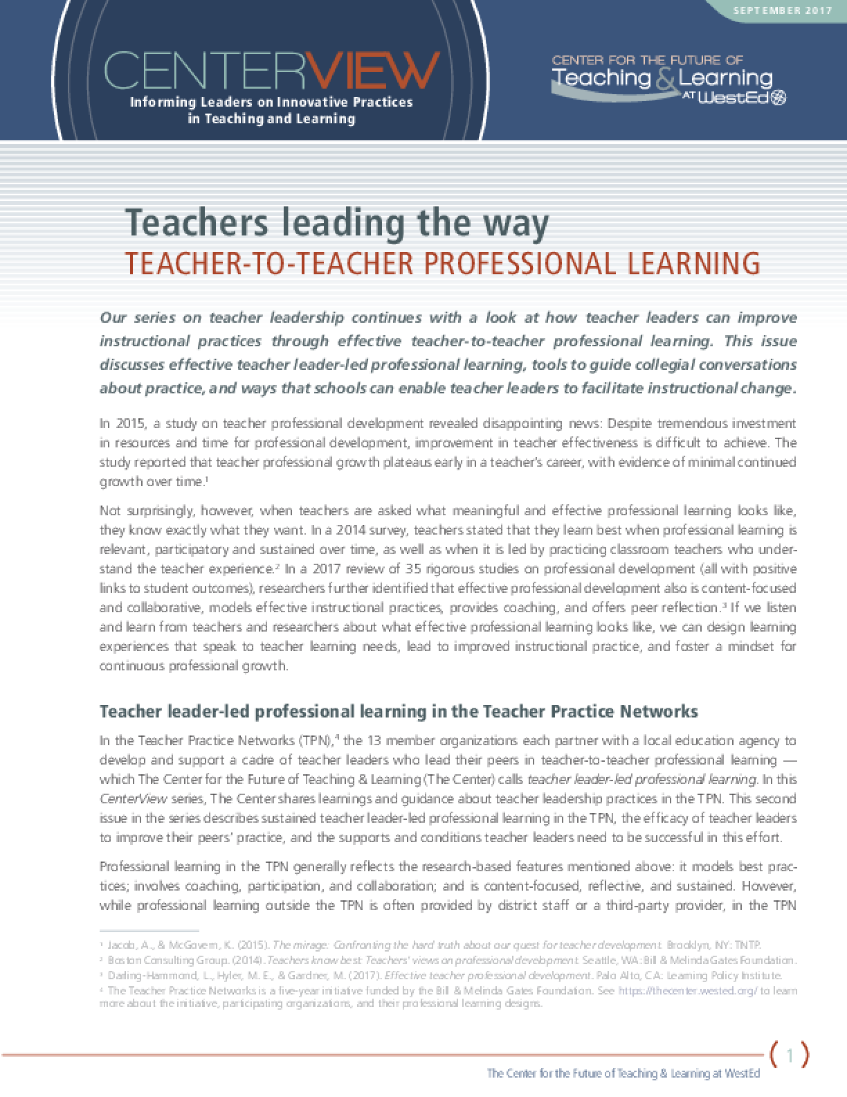 CenterView: Teachers Leading the Way ? Teacher-to-Teacher Professional Learning