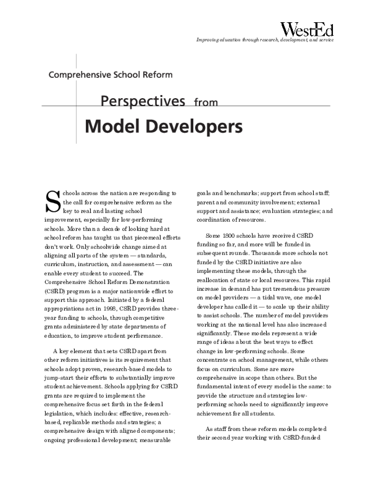 Comprehensive School Reform: Perspectives from Model Developers