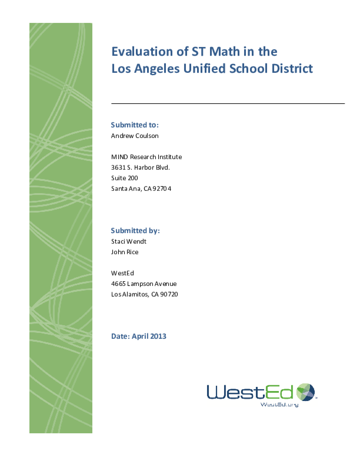 Evaluation of ST Math in the Los Angeles Unified School District