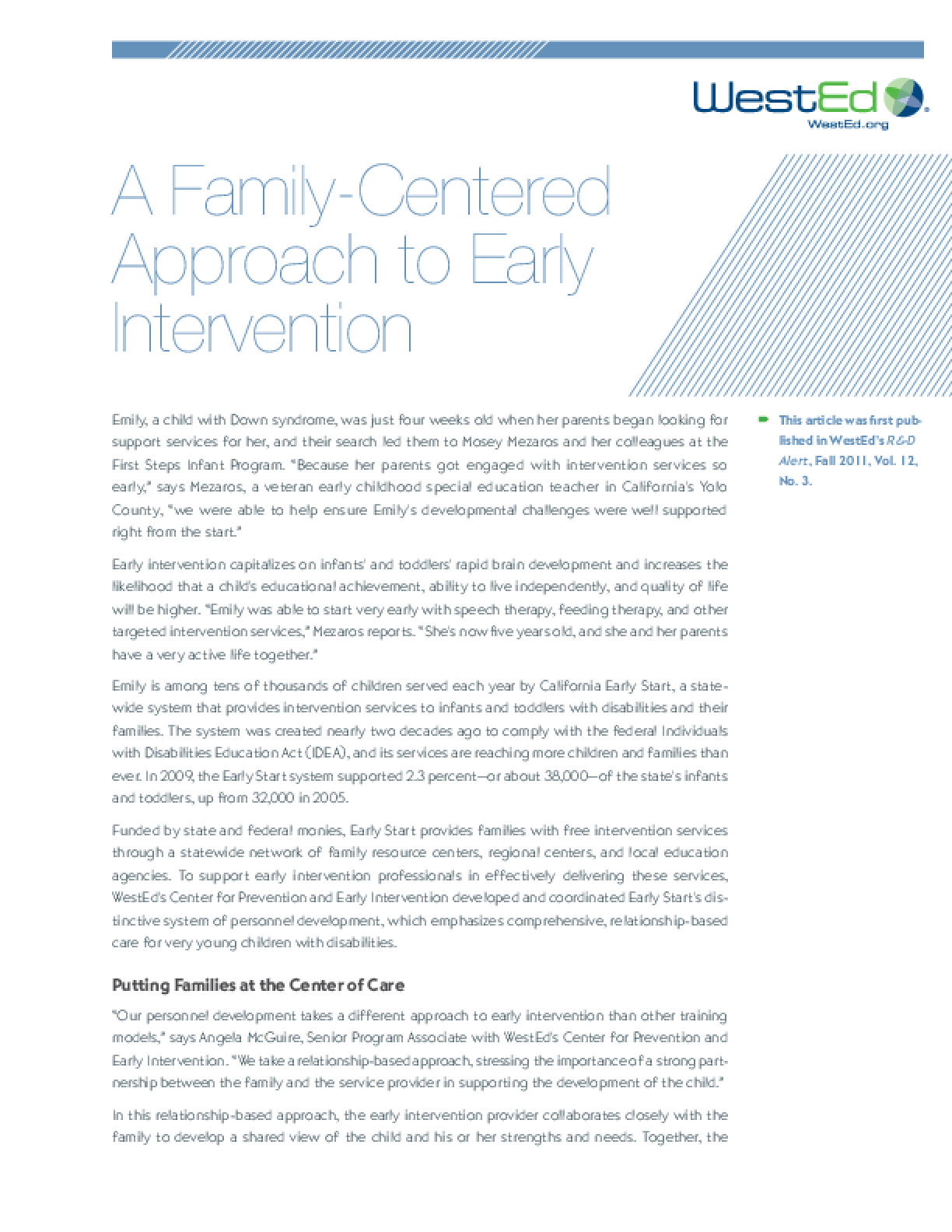 A Family-Centered Approach to Early Intervention - IssueLab