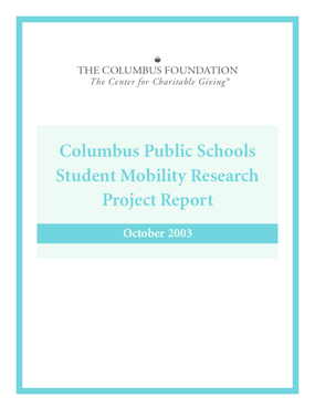 Columbus Public Schools 2003 Student Mobility Research Project Report