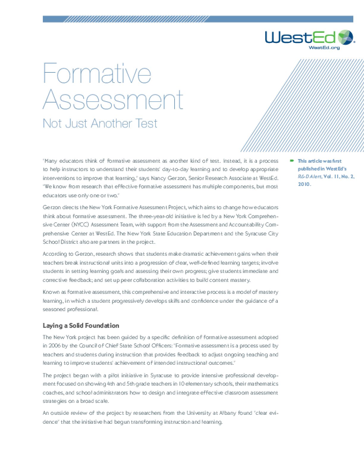 Formative Assessment: Not Just Another Test - IssueLab