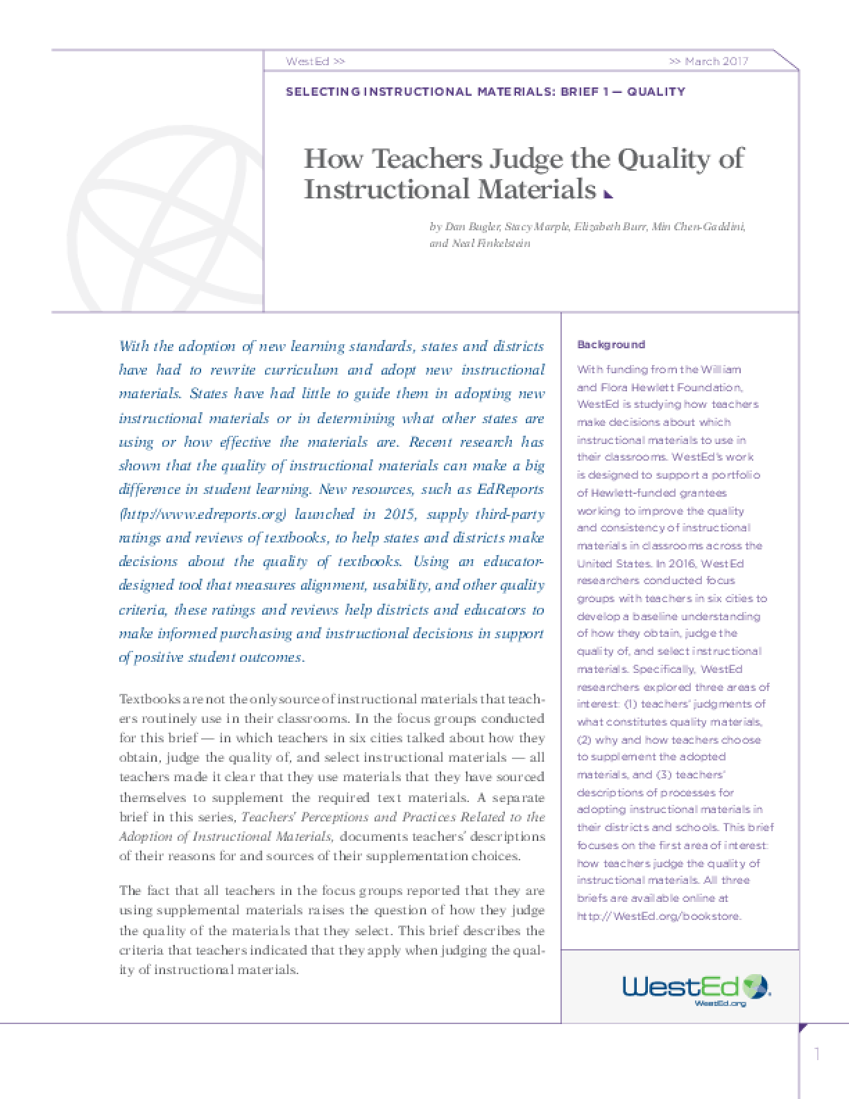 How Teachers Judge the Quality of Instructional Materials: Selecting Instructional Materials, Brief 1 - Quality