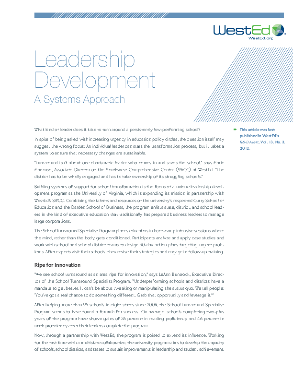 Leadership Development: A Systems Approach - IssueLab