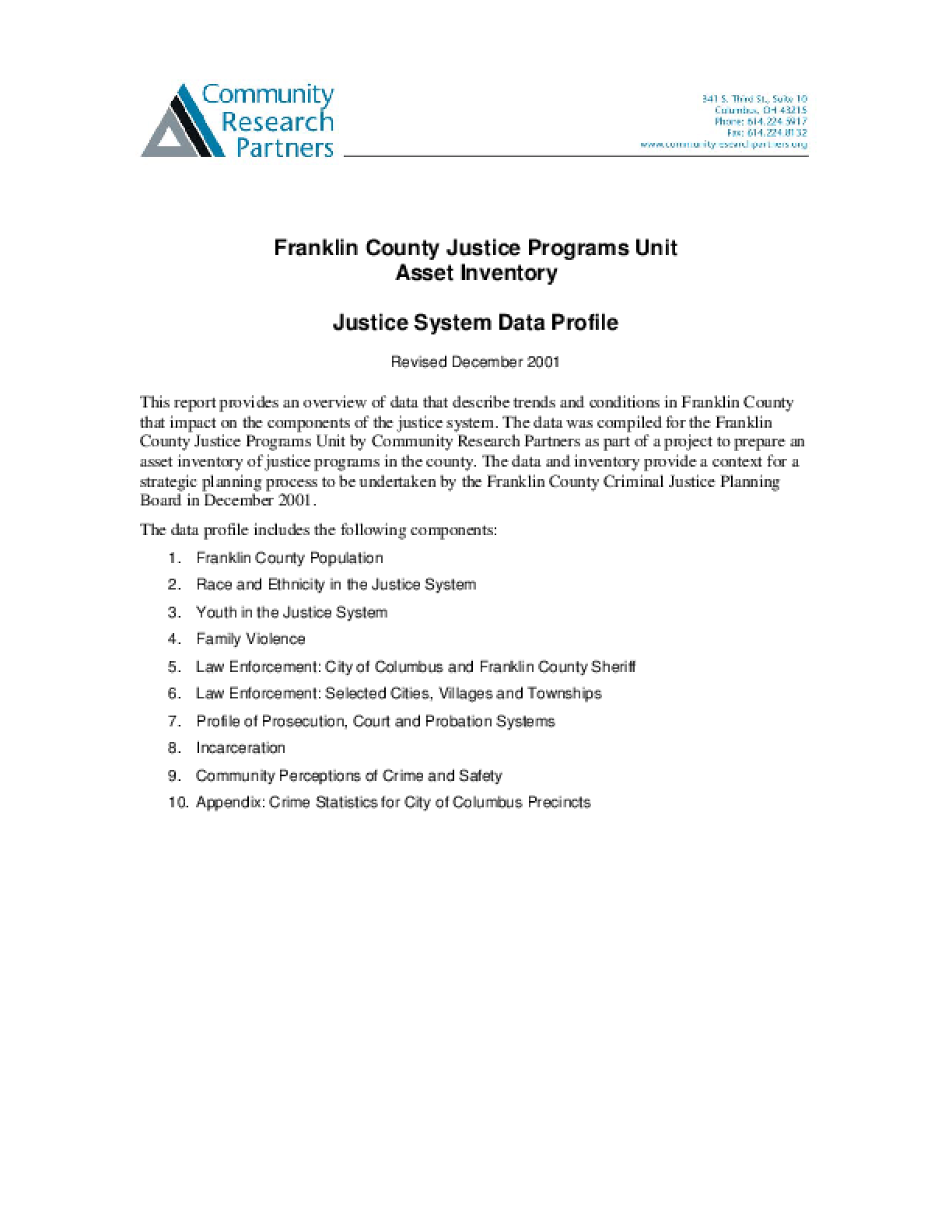 Franklin County Justice Programs Unit Asset Inventory: Justice System Data Profile