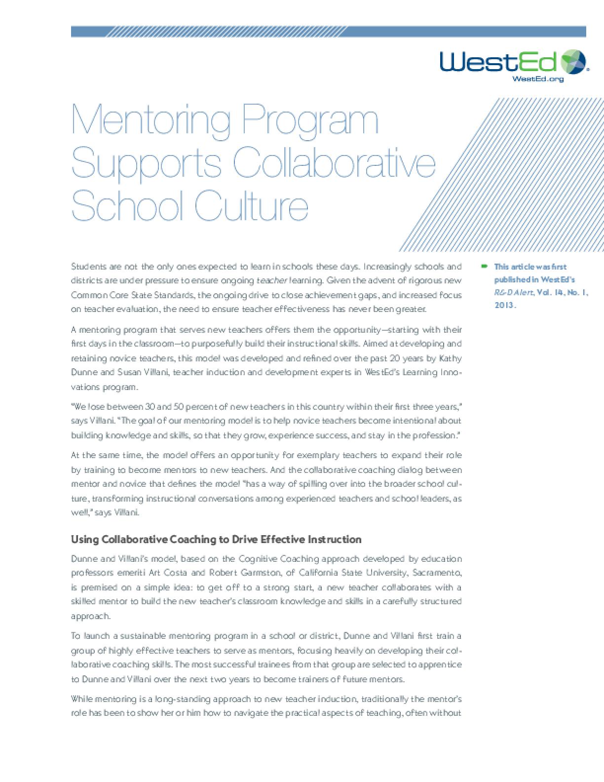 Mentoring Program Supports Collaborative School Culture