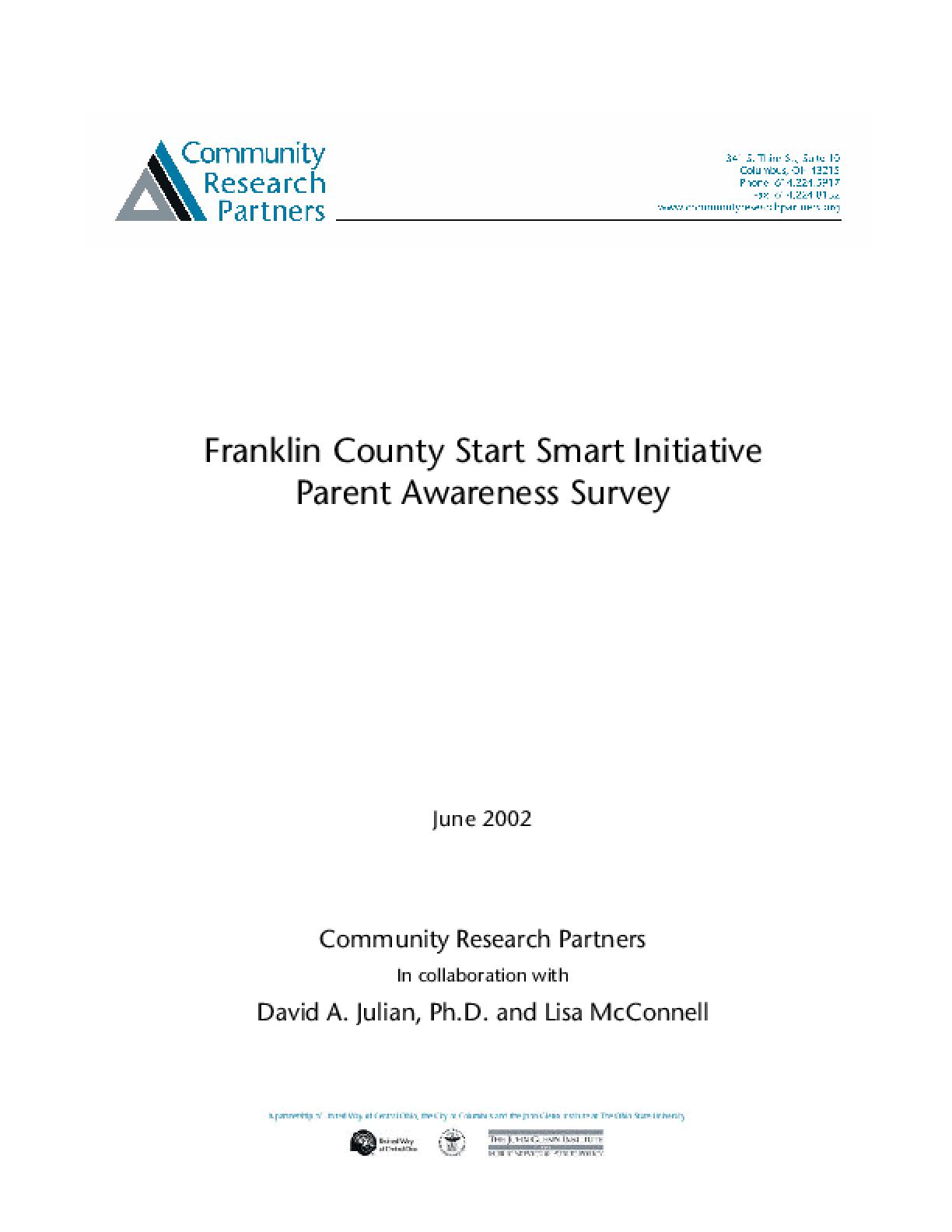 Franklin County Start Smart Initiative Parent Awareness Survey