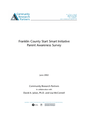 Franklin County Start Smart Initiative Parent Awareness Survey