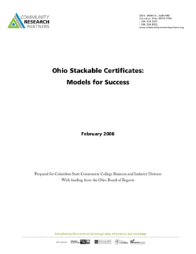 Ohio Stackable Certificates: Models for Success
