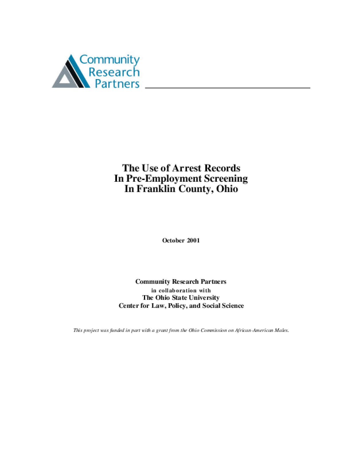 The Use of Arrest Records In Pre-Employment Screening In Franklin County, Ohio