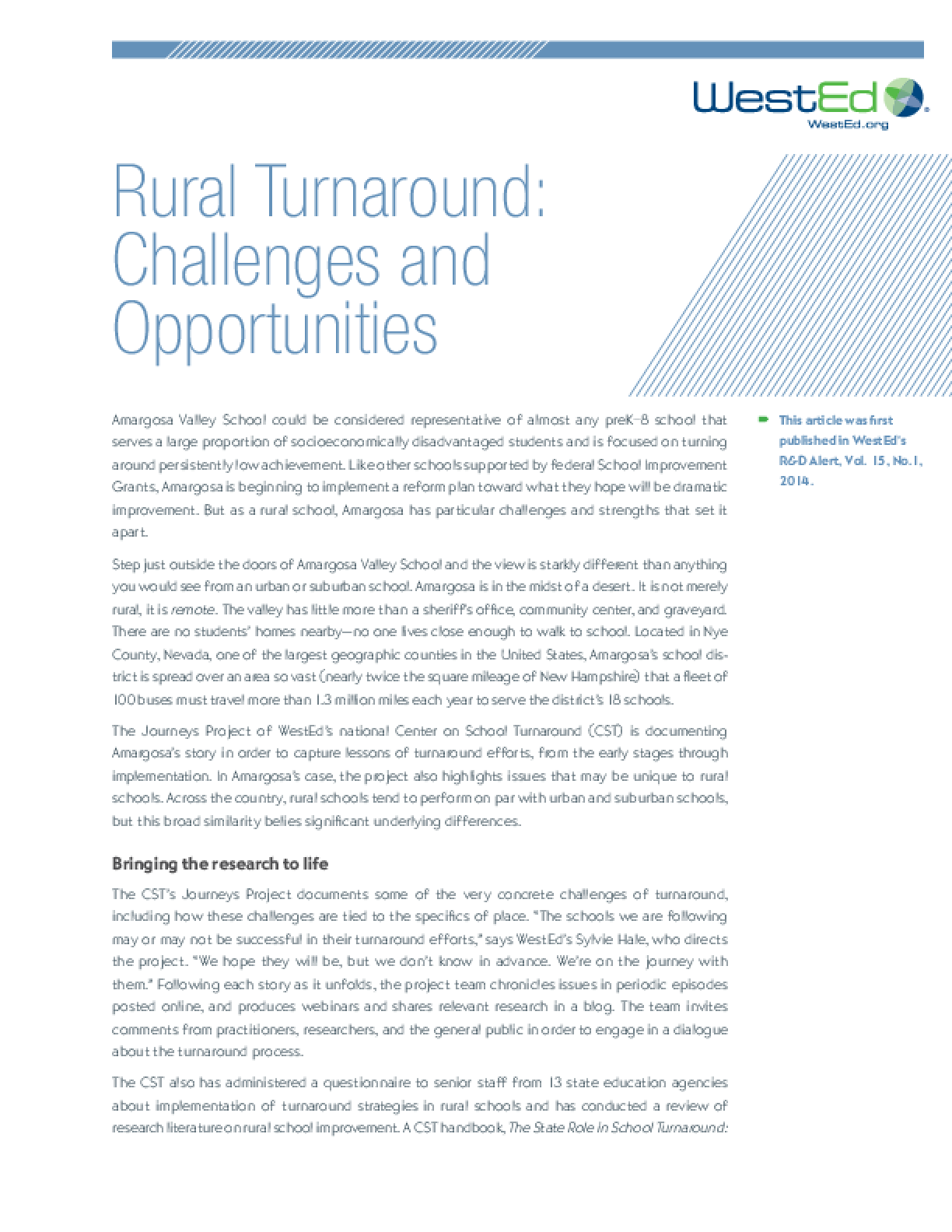 Rural Turnaround Challenges and Opportunities