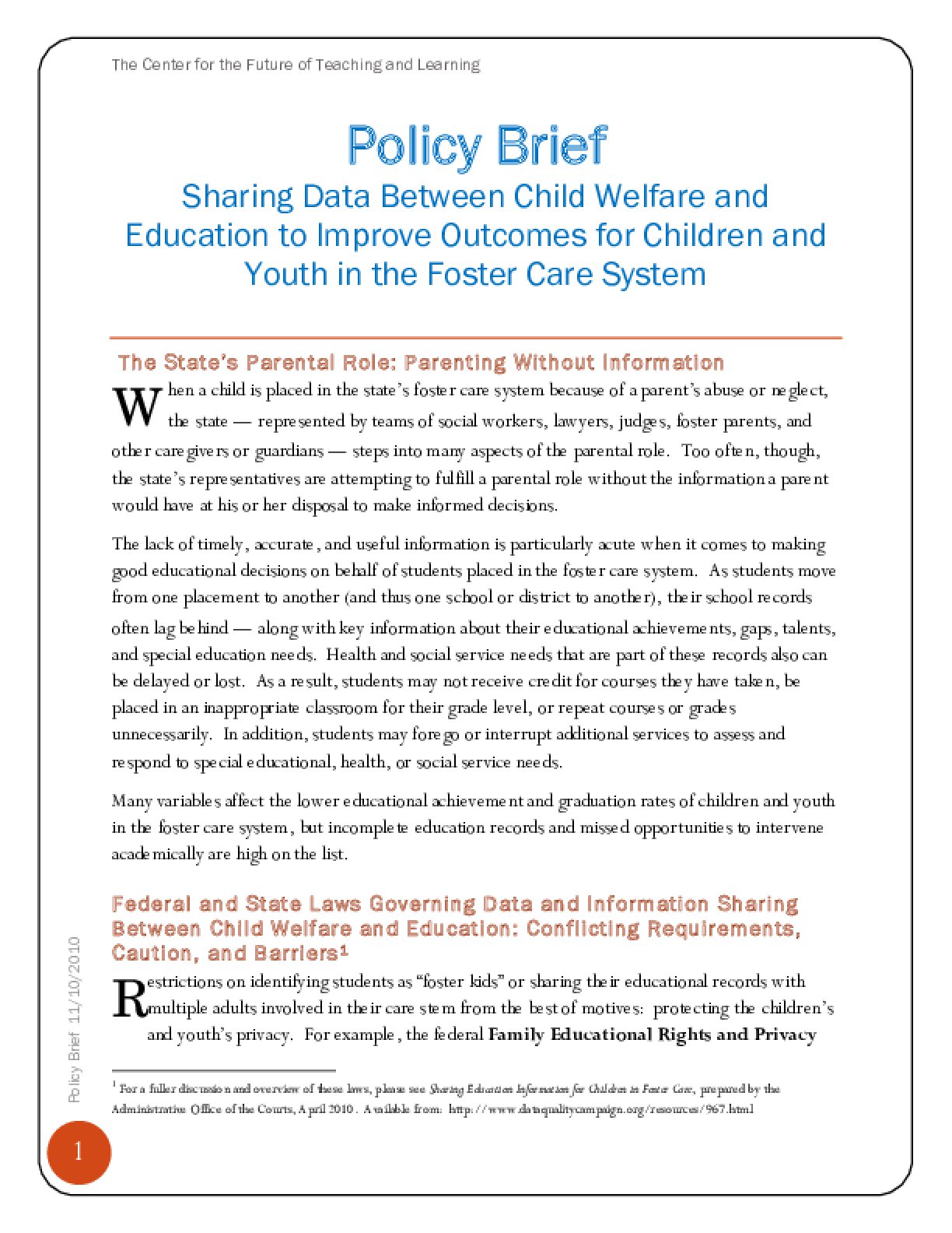 Sharing Data Between Child Welfare and Education to Improve Outcomes for Children and Youth in the Foster Care System