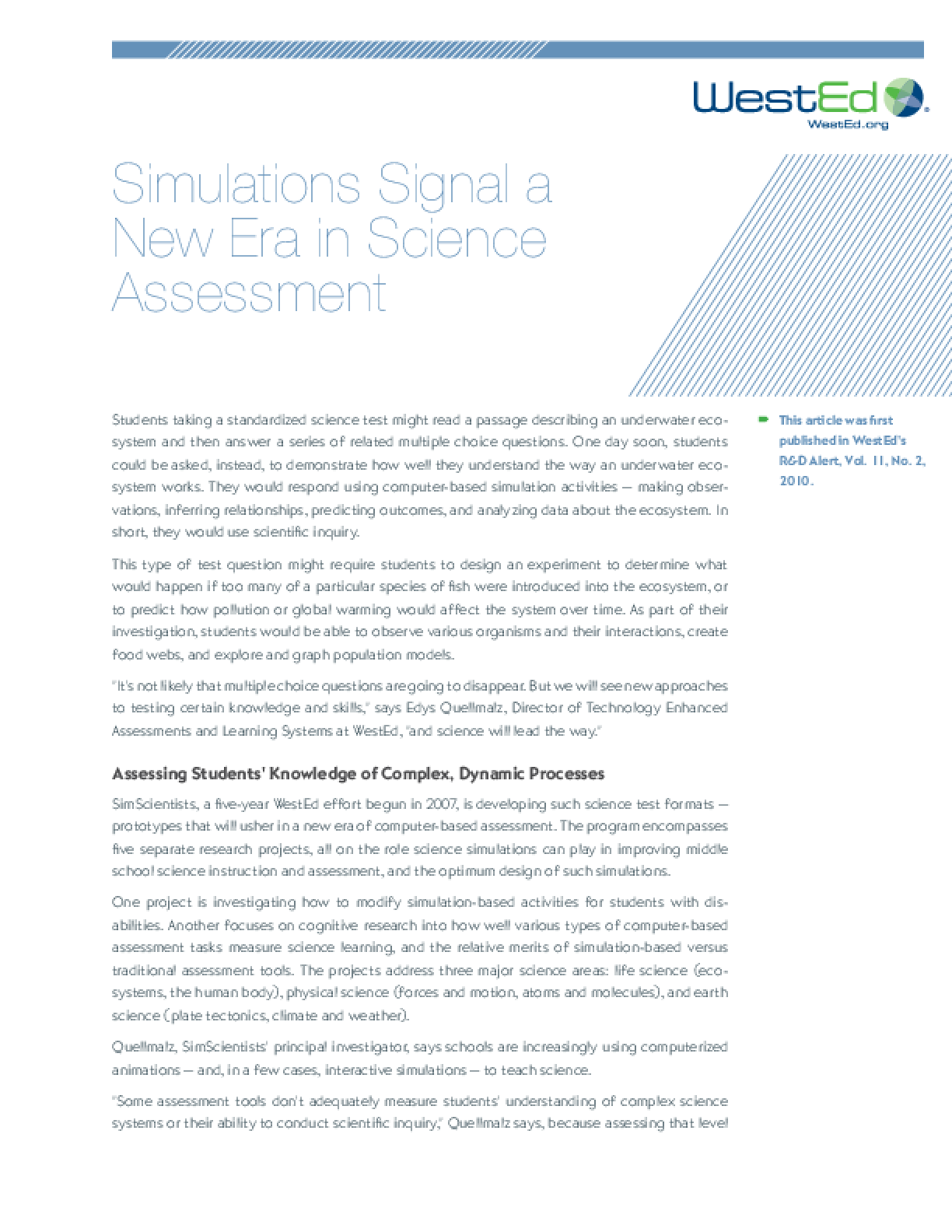 Simulations Signal a New Era in Science Assessment - IssueLab