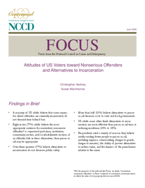 Attitudes of US Voters toward Nonserious Offenders and Alternatives to Incarceration