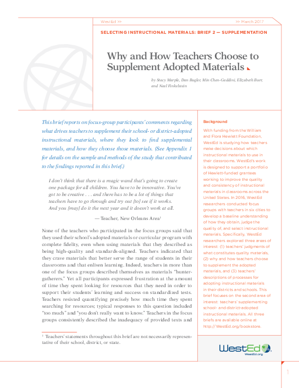 Why and How Teachers Choose to Supplement Adopted Materials: Selecting Instructional Materials, Brief 2 - Supplementation