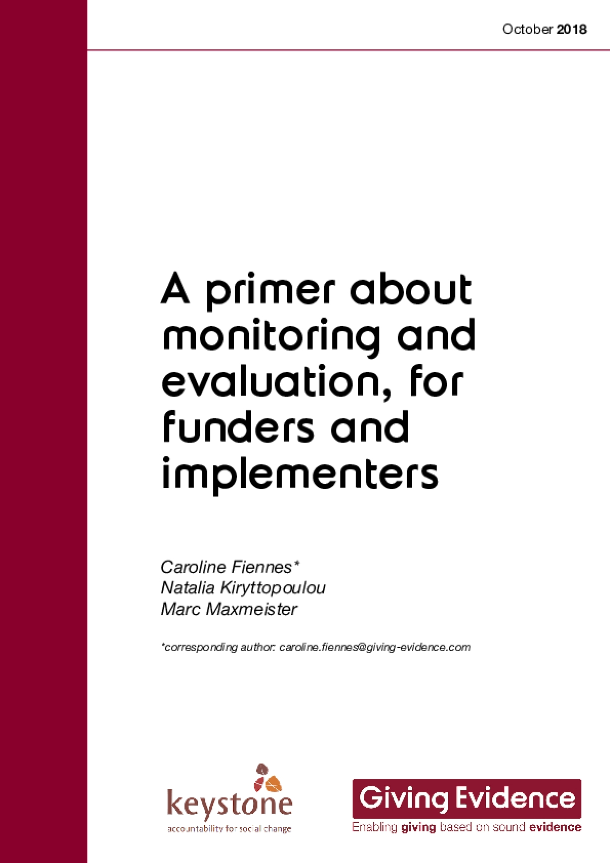 A Primer About Monitoring and Evaluation, for Funders and Implementers