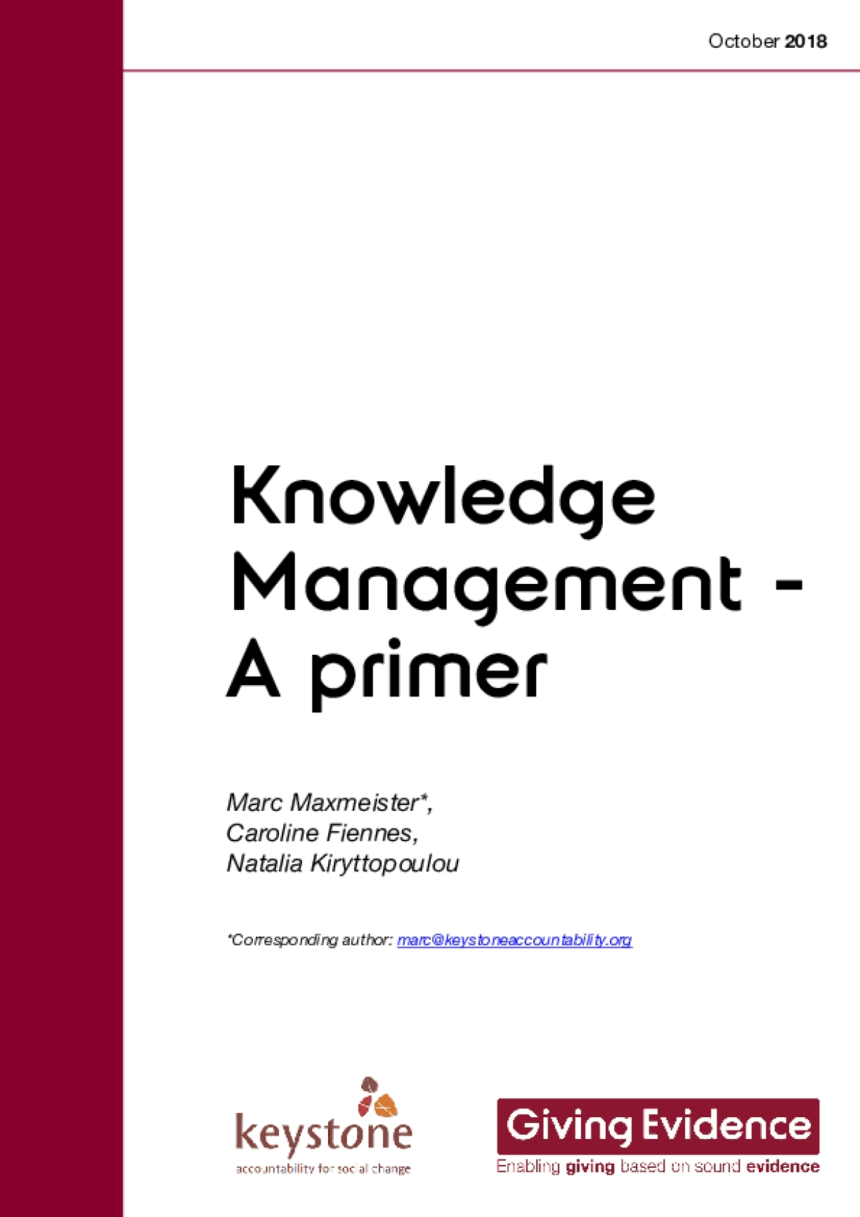 Knowledge Management - A Primer