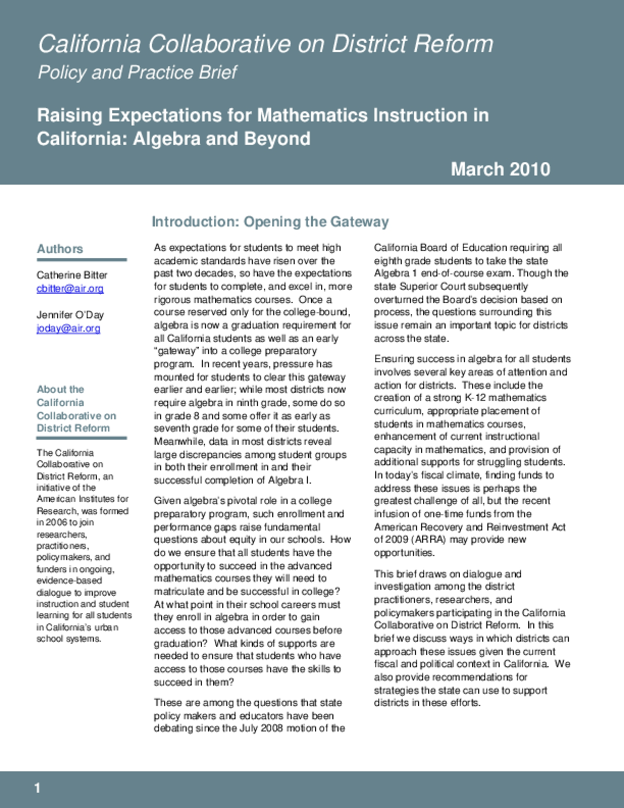 Raising Expectations for Mathematics Instruction in California: Algebra and Beyond