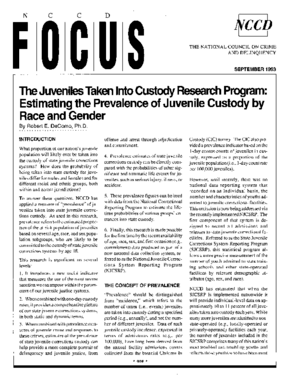 Juveniles Taken into Custody Research Program: Estimating the Prevalence of Juvenile Custody by Race and Gender (FOCUS)