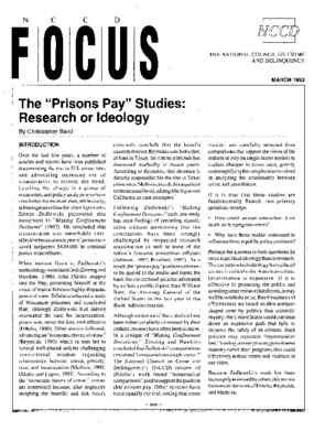 'Prisons Pay' Studies: Research or Ideology (FOCUS)