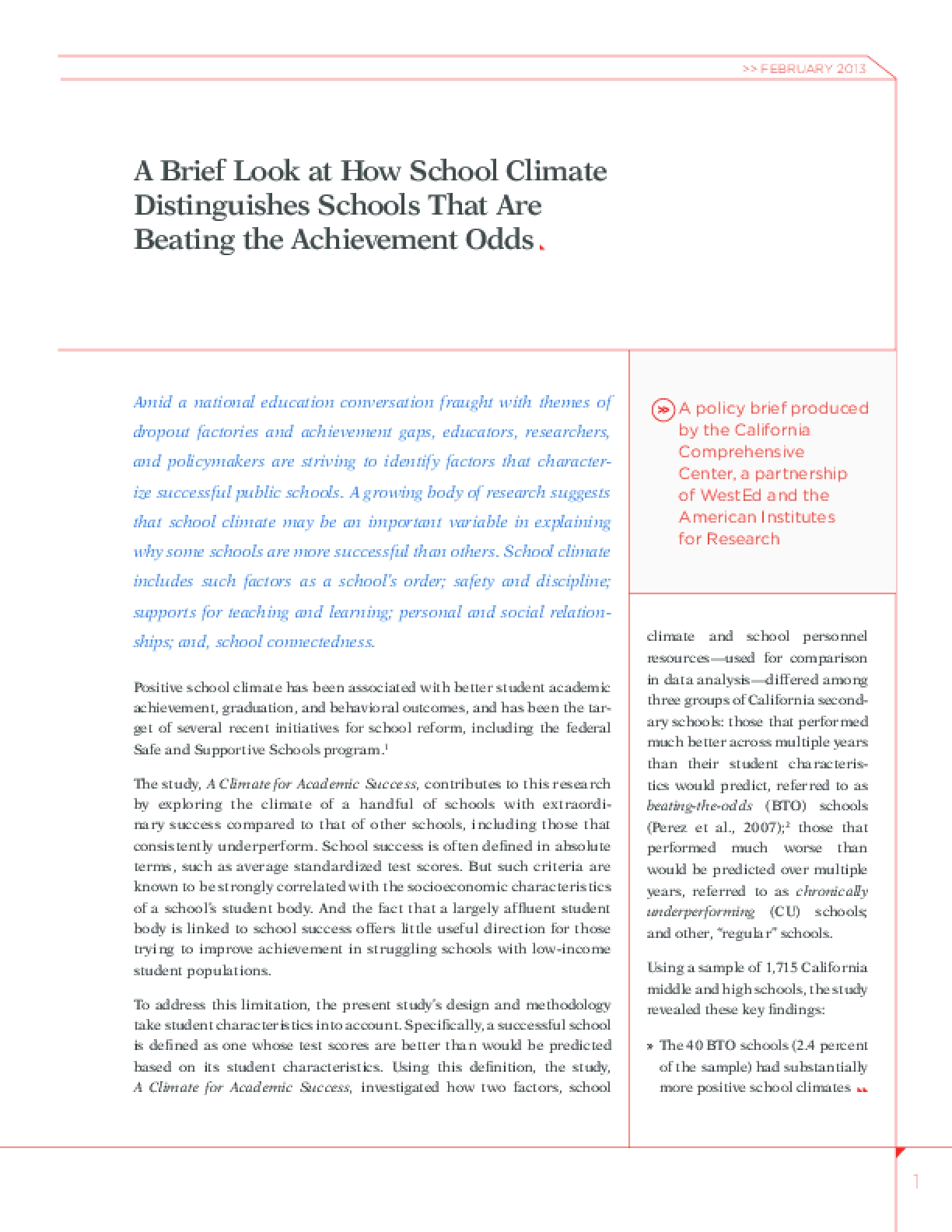A Brief Look at How School Climate Distinguishes Schools That Are Beating the Achievement Odds