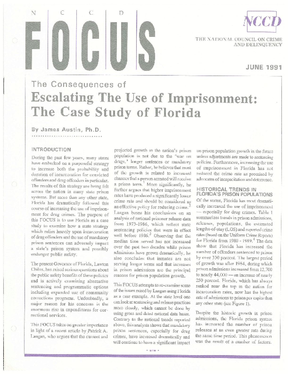 Escalating the Use of Imprisonment: The Case Study of Florida (FOCUS)