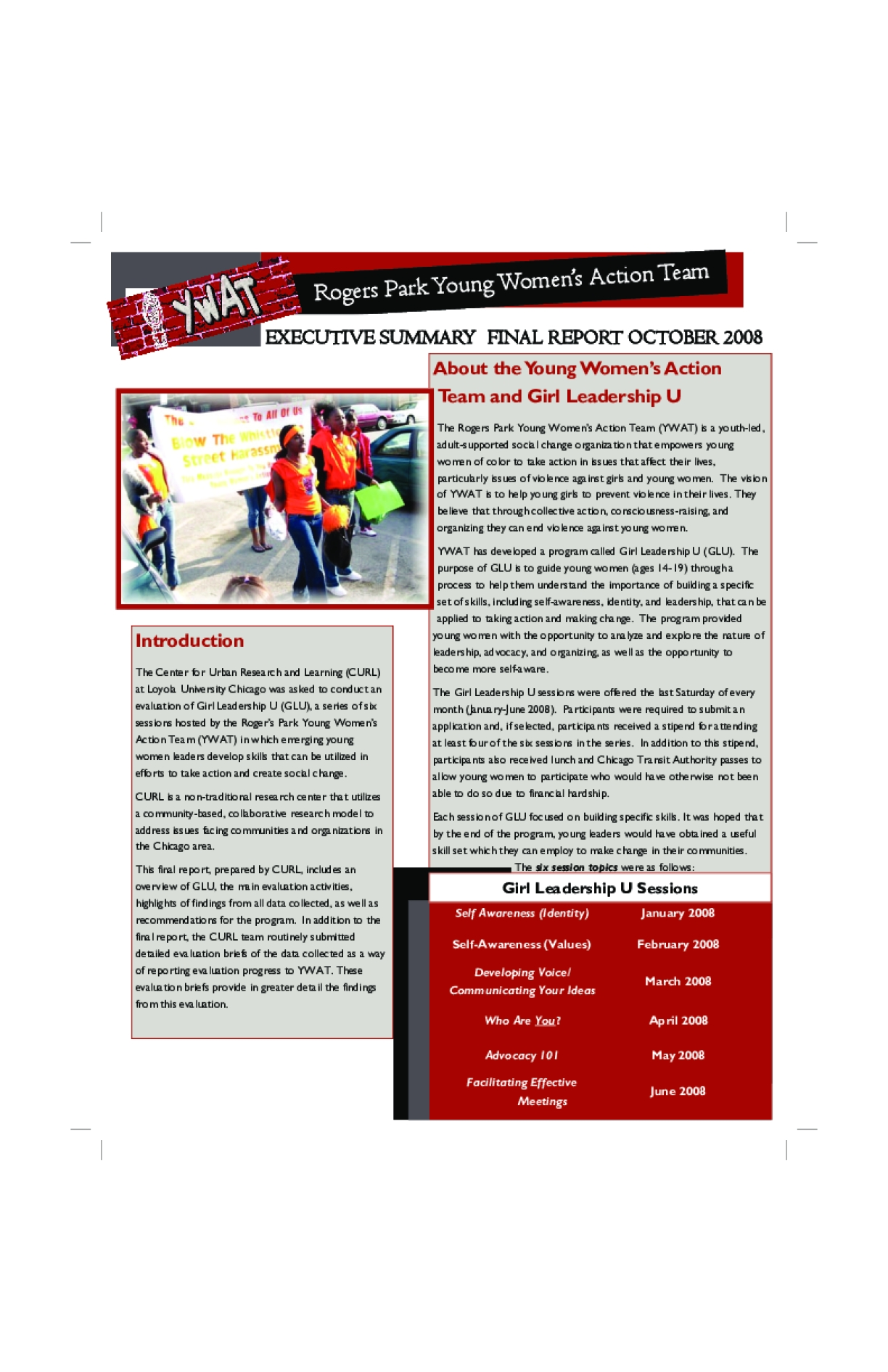 Rogers Park Young Women's Action Team: Executive Summary Final Report