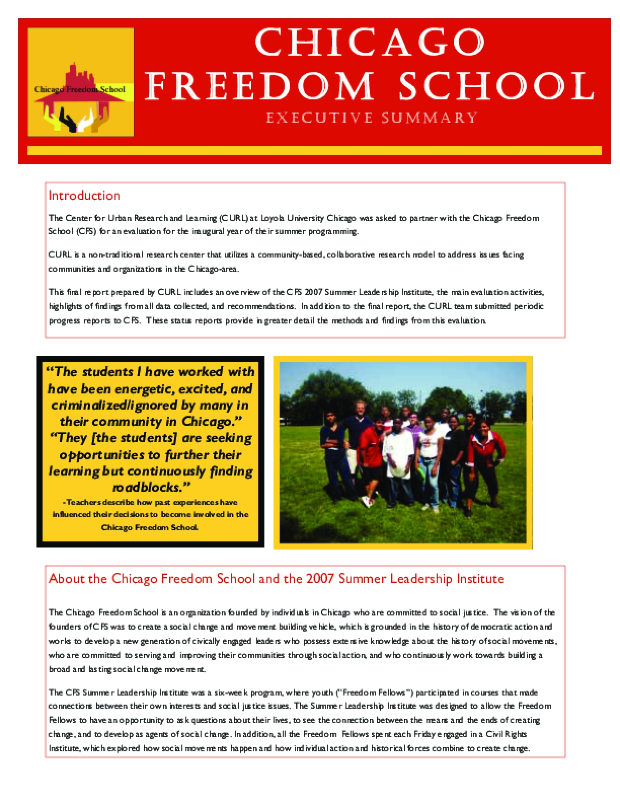Chicago Freedom School (Executive Summary)