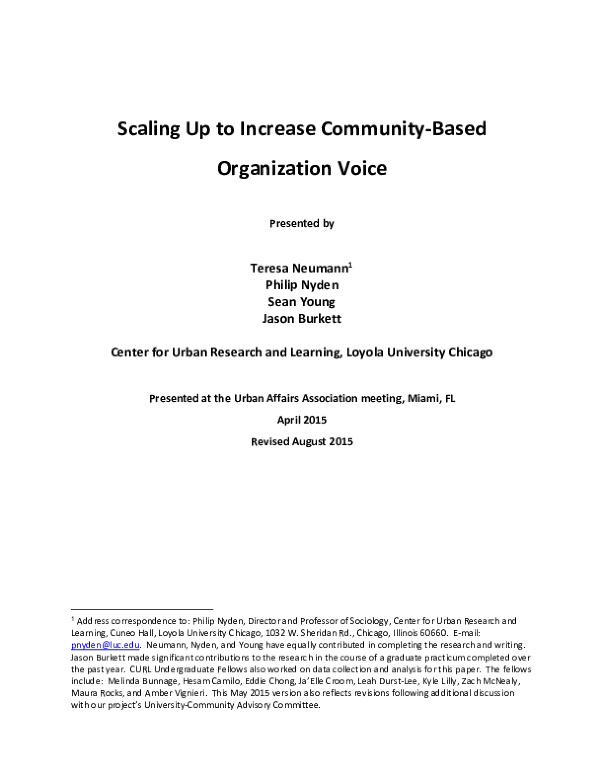 Scaling Up to Increase Community-Based Organization Voice